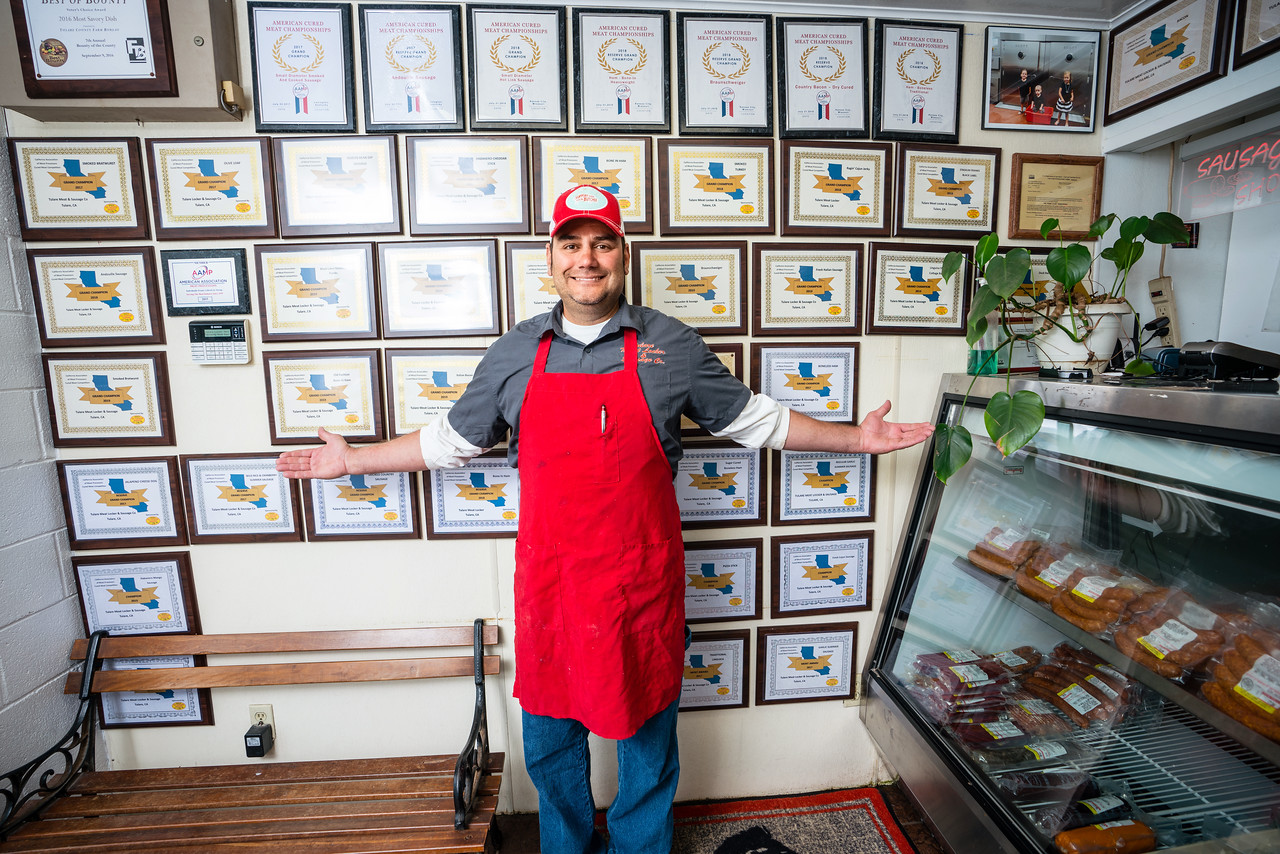 TULARE, CA--Danny Mendes has won many awards for his meats and sausages at Tulare Meat Locker & Sausage Co. Photo by Tomas Ovalle